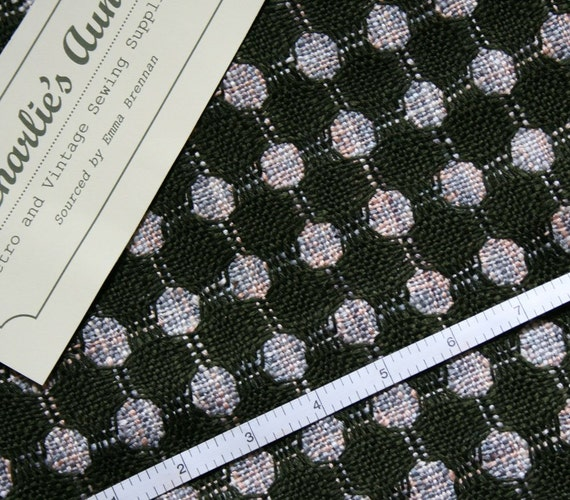 "Vintage silk mix loose weave couture tweed fabric piece with a spot design in dark olive with grey/pink spots 20""x 28"""