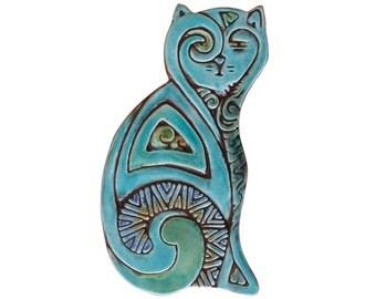 Ceramic cat // Cat sculpture // Cat Wall art // Ceramic art // Cat ornament // Deco cat left // 26cm // Turquoise