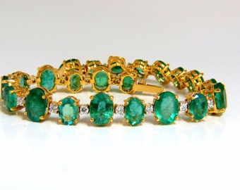 22.86ct bright green natural emerald diamonds tennis bracelet 14kt