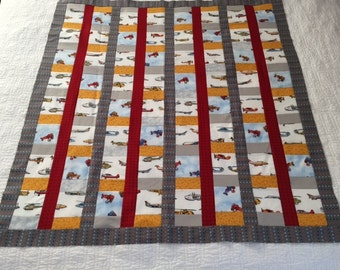 Scrappy Unfinished Baby Quilt - Airplanes, Jets, Helicopters