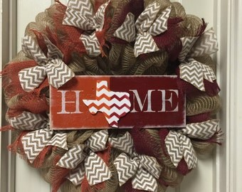 House Divided Wreath UT And A&M House Divided Burlap Wreath Longhorn and Aggies Wreath
