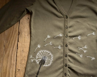 Hand Painted Dandelion Jersey Cardigan in Khaki Green Color, Size S, Army Green Apparel