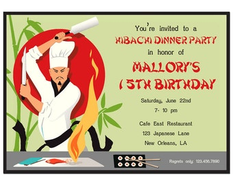 Hibachi Sushi Invitation Printable or Printed with FREE SHIPPING - Hibachi Dinner