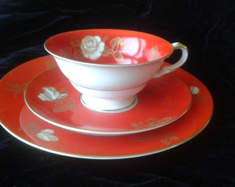vintage red tea trio, cup saucer and plate, Lettin of Germany