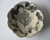 Vintage Studio Art Pottery white black fern pottery hand sculpted