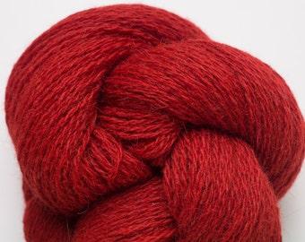 Pepper Red Alpaca Wool Blend Recycled Yarn, Sport to Fingering Weight Yarn