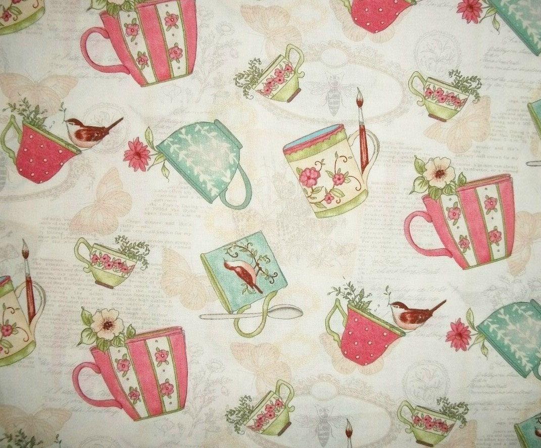 Susan winget coffee cup fabric by the yard quilting sewing tea for Sewing fabric by the yard
