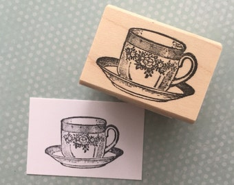 Floral Teacup Wood Mounted Rubber Stamp 4663