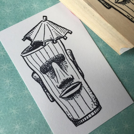 TIki Cup Rubber Stamp 4738