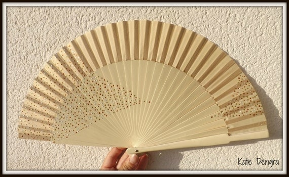 Dotillisim Cream Bronze Gold SIZE OPTIONS Flamenco Painted Wooden Folding Hand Handheld Fan by Kate Dengra from Spain