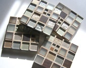 Silver Copper Glass Mosaic Coasters Copper Metal Decor Modern Unisex Gift Industrial Design Barware