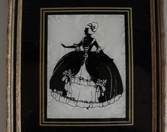 Vintage Colonial lady painted glass silhouette wood frame