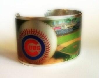 Cubs Wrigley Field Baseball Cuff Bracelet