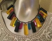 Vintage Bib Necklace Multi Colored Pendants / Plastic Bauble Necklace Dramatic