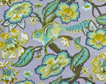 Tula Pink Fabric, Chipper in Mint, Chipmunk Fabric,  Free Spirit, By the Yard