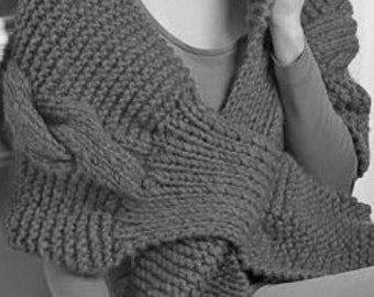 Chunky Stole Wrap With Supersized Cable PDF Knitting Pattern Instant Download Is not a finished product. It is a PDF Pattern