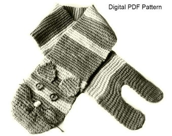 Easy Cat Scarf PDF Knitting Pattern  Scarf  Cat  Pattern Animal Cat Scarf Is not a finished product. It is a PDF Pattern