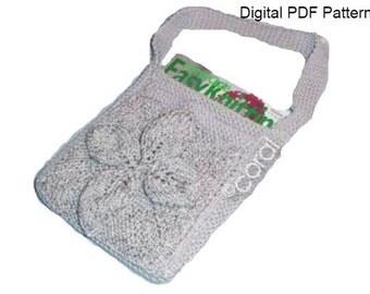 Shoulder Bag With Outside Pocket & 3D Flower PDF Pattern Crossbody Bag  Shoulder Bag  Knit Tote  Bag  PDF Pattern Is not a finished product