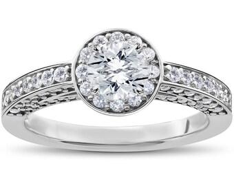 Diamond Engagement Ring, Halo Diamond Engagement Ring 1 ct Diamond Halo Solitaire Engagement Ring 14k White Gold Round Brilliant Cut