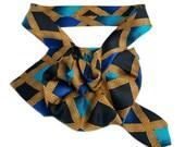 Georgio Benelli silk necktie necklace, Ladies necktie scarf, Upcycled necktie, OOAK Ascot Scarflette, teal gold black, Womans Scarf Cravat