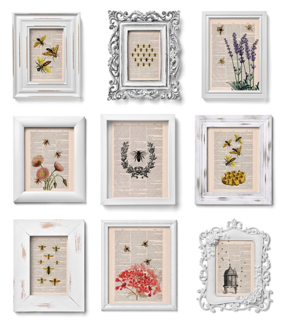 This selection is a Perfect Gift Book prints SALE This Selection for ONLY fifty dollars Bees collection of Prints on Dictionary SET012