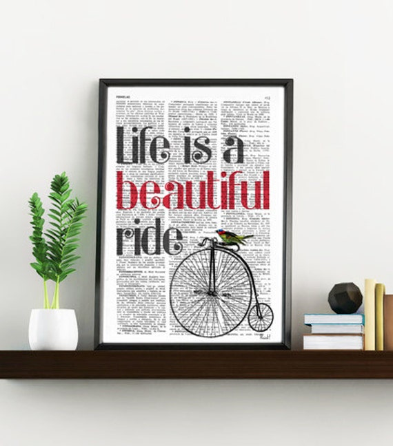 Quote print life is a beautiful ride GIRL BEDROOM Art, Sister BIRTHDAY Gift, Bedroom Decor Wall Quote, Quote Poster TYQ010