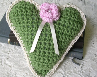 Green Crochet Heart Decoration –Stuffed Rustic Heart Door Hanger - Doorknob Heart - Large Crochet Ornament - Friend Gift