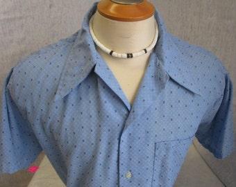 """70s L 16-16 1/2"""" Mens S/S Big Collar Shirt Blue"""