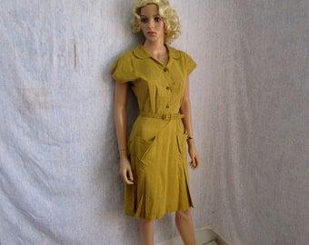 50s M Bowling Uniform Dress ELAINE HAGIN Chartreuse Yellow Green