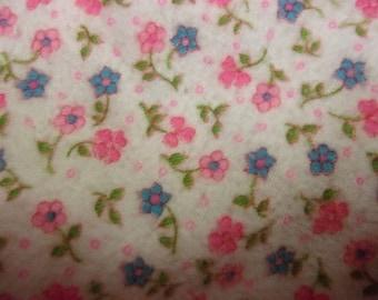Vintage Pink And Blue Flowered Flanel Yardage 4 Yards