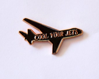 """Cool Your Jets funny plane Lapel Pin - 1.25"""" soft enamel, rose gold"""
