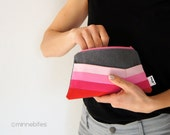 Pink Ombre Pouch by MinneBites / Small Handmade Gray Striped Purse - Hostess Gift - Travel Zip Pouch - Womens Toiletry Bag - Ready to Ship