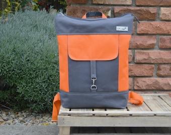 Zipper Canvas School Backpack, Unisex Large Laptop Backpack, Orange Gray Macbook Rucksack, Unique Gift for College Student, Gift for Men