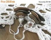 FLASH SALE Harmony //  Hand Drilled River Stone Beaded Dangle Earrings // Zen Earrings // Earthy // Organic