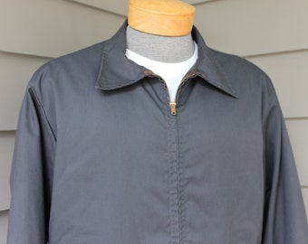 vintage 60's -70's Mens work jacket. Utility coat with quilted lining. Dark Blue. Large 42-44. Workwear - mechanic, gearhead, grease monkey