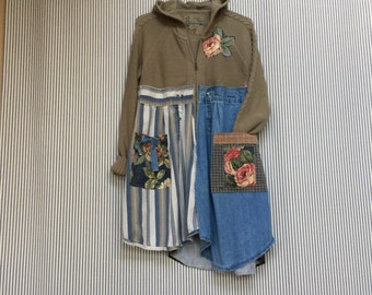 Upcycled Hoodie Sweater, Hoodie Cardigan Jacket , Neutral Fall Sweater Denim Patchwork and Appliqué