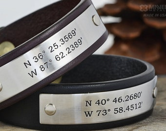Father Son Personalized Leather Bracelets - Two (2) Personalized Leather Bracelets - Hand Crafted in USA