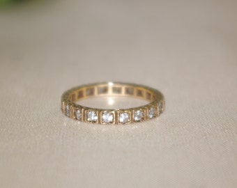 Antique 9ct 9k Yellow Gold Clear Stone Paste Full Eternity Wedding Band Ring
