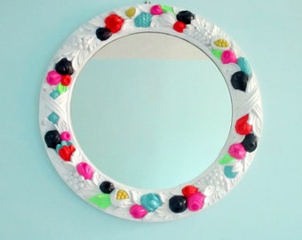 Bright Mirror - Painted Vintage Ornate Wall Mirror - White with Navy and Neon Accents - Large round hanging