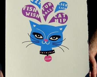 Seuno limited edition cat print screen print Cats Cat picture