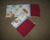 Special Listing for toni - Three King Size Pillow Cases in Floral Print with Burgundy Band and Blue Trim