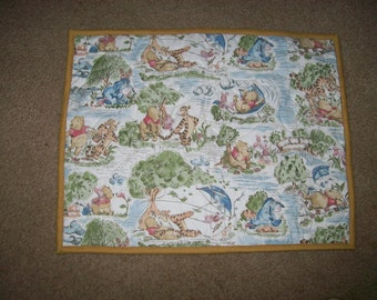 Pooh Bear and Friends in the Park Security Blanket or Dolll Quilt