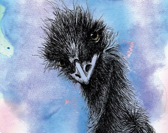 Emu Card Hand Drawn Australian Bird Blank Greeting Card