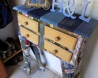 Eclectic console table from upcycled mannequin legs. Bohemian decoupage OOAK sculpture vintage retro
