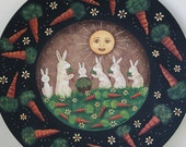 Spring Folk Art Painting Easter Wood Plate - MADE TO ORDER - Primitive Style  Mother and Baby Bunnies Munching Carrots, Whimsical Flowers