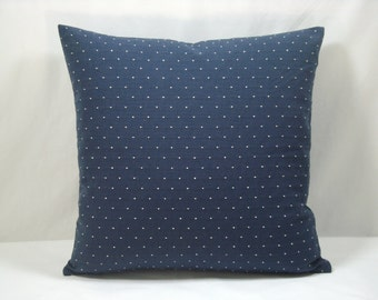 Navy and White Dot Cotton Decorative Pillow Accent Pillow Modern Pillow 17X17Upholstery Pillow Cover Only