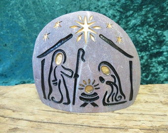 NATIVITY  Engraved Natural Stone Unique Collectable Nativity