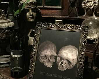 Antique Human Skulls in Matrimony Framed Photograph at Gothic Rose Antiques