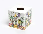 Birdhouse Tissue Box Cover wooden handmade