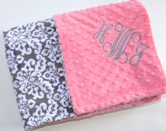 Minky Monogrammed Baby Blanket -   Coral with Charcoal Gray and White Damask - Personalized custom Girl Newborn